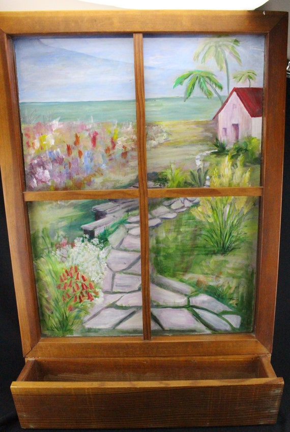 Original Oil on Canvas Painting Beach House, Behind Window with Flower Box