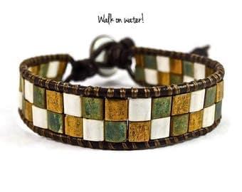 Green and Gold Bracelet, Miyuki Tila Bracelet, Leather Wrap Bracelet, Blessed Bracelet,Blessed Jewelry,Christian Bracelet, Christian Jewelry