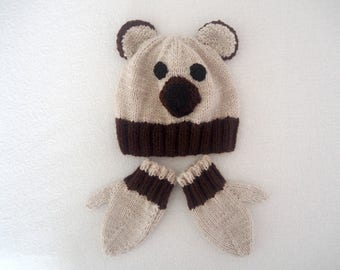 SALE - Cute Bear Hat & Mittens Set - Size 6 to 12 months - Babies Hat and Mittens - Baby Gift Set (Ready to post)