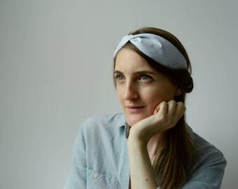 Blue striped cotton headband