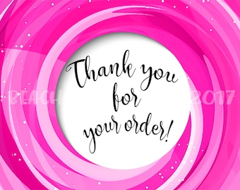 """Pink Swirl """"Thank You For Your Order"""" Postcard"""