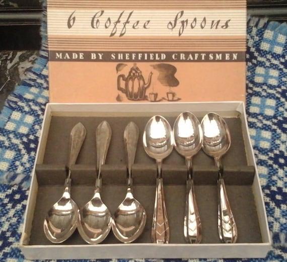 SHEFFIELD COFFEE SPOONS - Boxed set - 6 spoon set - Sheffield Craftsmen - for coffee - Retro tableware - 1960's Retro kitchen