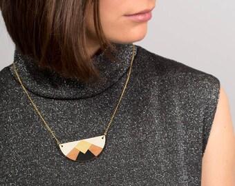 Necklace, graphic, geometric, in wood, minimalist, laser cut, black, white, golden, chain golden with fine gold - HÉLÈNE -
