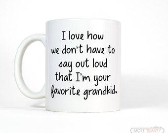 Funny Grandpa Gift | Favorite Grandkid Coffee Mug | Grandmother Gift | Funny Gift for Grandpa Fathers Day-Funny Grandma Gift for Grandma Mug