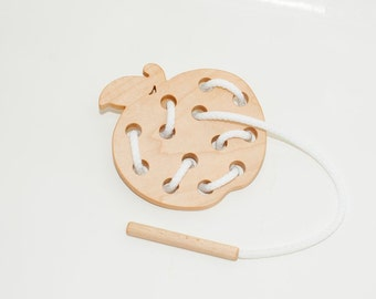 Wooden lacing apple toy, Educational toy, Montessori toys, Organic toy, Toddler activity, Natural eco friendly, Learning sewing toys
