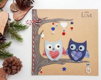 Handmade Owls Christmas Card | Girlfriend Christmas Card, Boyfriend Christmas Card, Wife Christmas Card, Husband Christmas Card, Couple