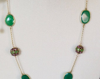 Free Shipping! Handmade Gold Plated Chain Necklace with Green Onyx and German Swarovski Encrusted Filigree Beads in Green and Purple