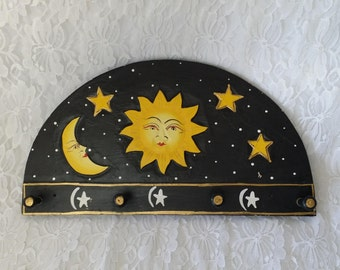 Celestial Moon and Star Hand Painted Black Wooden Herb Drying Rack or Use for Necklace Display ~ Witchcraft ~ Wiccan