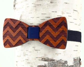 Wooden Bow Tie - CHEVRON - African Padauk Redwood - Clip On No Tie Bow Tie For Men Formal Wear