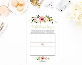 Bridal Shower Bingo, Floral Bridal Shower Bingo, Rustic Bridal Shower Bingo, Watercolor Bridal Bingo, Printable Digital, INSTANT DOWNLOAD