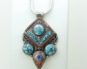 Back to Basics! Turquoise Coral Native Tribal Ethnic Vintage Nepal Tibetan Jewelry OXIDIZED Silver Pendant + Chain P3991