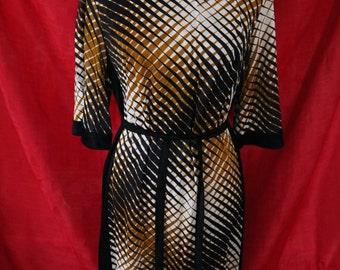 Stunning Exotic Vintage White, Black, and Bronze Dress