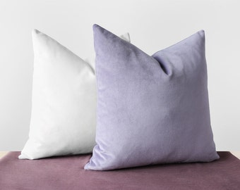 Lilac Purple Velvet Pillow Cover Pastel Purple Cushion Lavender Purple  Pillows Cotton Velvet Lumbar Pillow Light