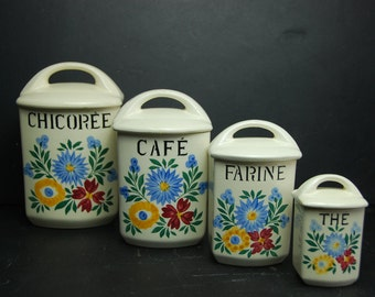 Set of 4 vintage French ceramic canisters with lids , 1930s kitchen style.  Hand painted floral decor. Kitchenalia.