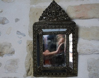 Gorgeous C19th French parclose or cushion style mirror