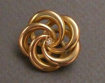 14K Diamond Knot brooch c1890.
