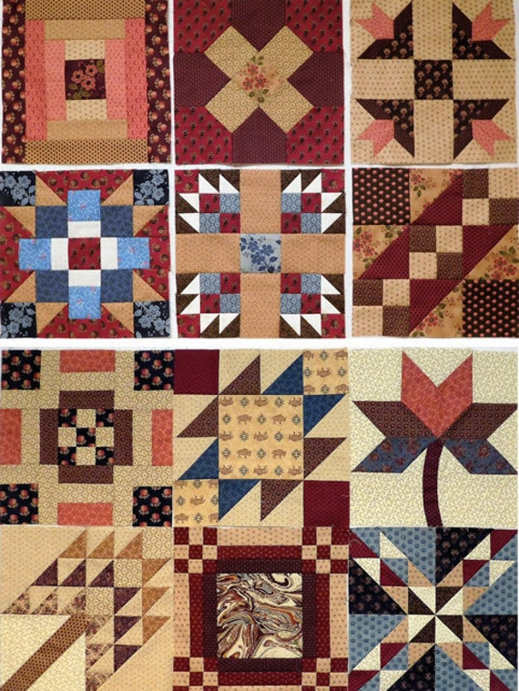 WESTERING WOMEN Historic Quilt Pattern PDF Block of the Month Sampler. 12 traditional blocks named for sites on the Western trails Americana