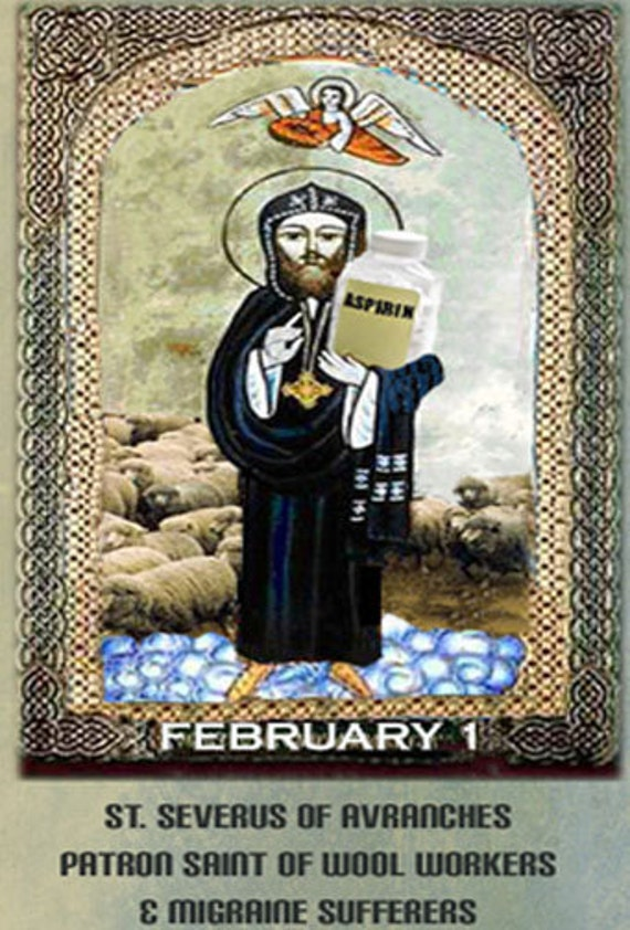 QUILTERS PATRON SAINTS: St. Severus Patron of Wool Workers Downloadable pdf print. Photo-shopped by Barbara Brackman.