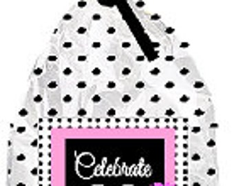 CakeSupplyShop Item#060BFC 60th Birthday / Anniversary Pink Black Polka Dot Party Favor Bags with Twist Ties -12pack