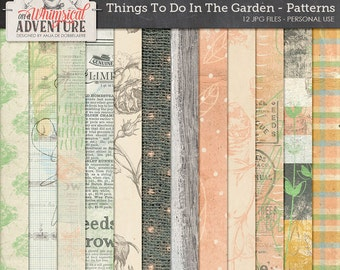 Garden nature outdoors digital download scrapbooking papers, mixed media illustrations paint vintage ephemera, artsy botanical patterns