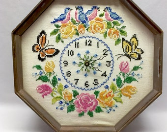 SALE / Vintage Cross Stitch Wall Clock / Butterflies Birds and Flowers Design / Battery Operated