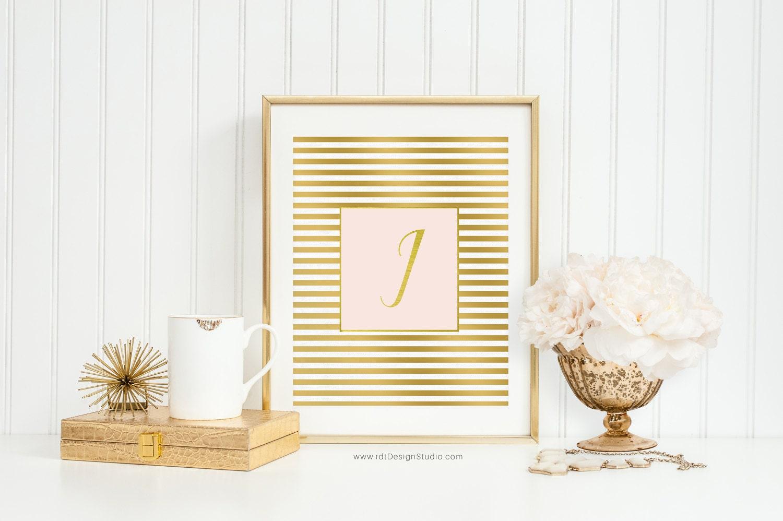 Letter I Print Blush and Gold Monogram Nursery Wall Art