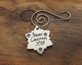 Snowflake Christmas Ornament, Snowflake Ornament, Merry Christmas Snowflake Ornament, Gift, Holiday Gift, Christmas Keepsake, Christmas Gift
