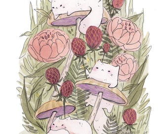 Three Fluffy Cats-- Art Print