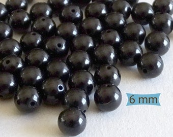 Polished Round Jet Beads--10 Pcs | JT06-10