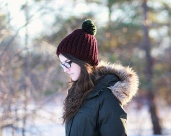 Burgundy Pom Pom Hat - Made in Canada by Wool and Warmth