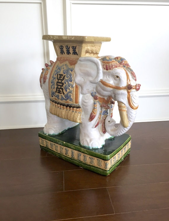 Vintage elephant garden stool colorful patio decor Colorful elephant home decor