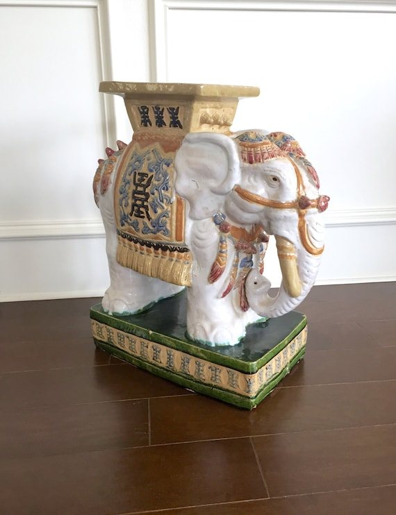 Vintage Elephant Garden Stool Colorful Patio Decor