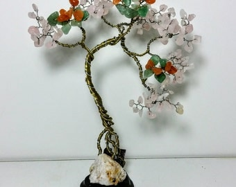 Small gemstone wire bonsai tree of life, yellow wire tree, feng shui gemstone tree