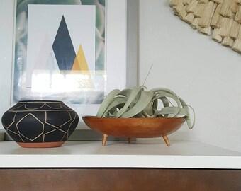 Tripod wood planter vessel bowel plant holder vintage wood