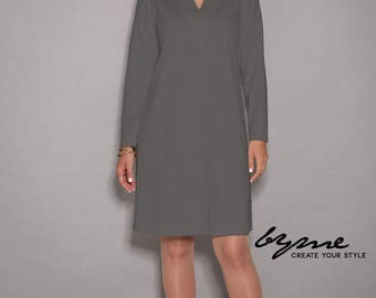 Gray dress, womens dresses, loose dresses, long sleeves dress, women dresses unique, party dress, V neck dress, winter dress, midi dress