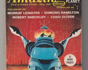 Amazing Stories Science Fiction Magazine 1965 Pulp-Cordwainer Smith-Edmond Hamilton-Robert Sheckley-Chad Oliver-Murray Leinster-Short Story