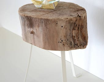 Driftwood decoration stool BEACHER, casual Beach House furniture