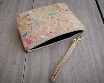 Small Cosmetic Bag, handmade from colorful recyceled cork
