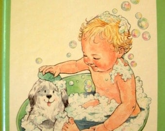 Baby Bubbles, Baby Bunch Book, Darcy Tom, Bathtime, Vintage 1980s Children's Book, 1988