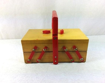 Vintage Red White Sewing Box Wooden Sowing Box Sewing Storage Craft Storage Wooden Storage Box