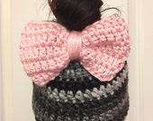 Women's Hat - Bow Messy Bun Beanie - Bow Beanie - Bow Hat - Crochet Messy Bun Hat