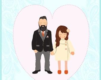 Custom Couple / Bespoke Squishy - Engagement / Wedding / Anniversary Portrait - Illustration Print