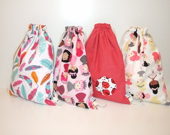 Printed fabric backpack feathers, princesses, dancers or ladybugs