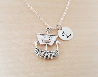 Viking Ship Charm - Personalized Custom Initial Silver Necklace - Simple Jewelry - Gift for Her