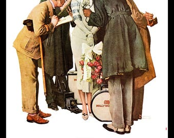 """Norman Rockwell painted Movie Star and Spring Time 1936 for Post Covers that year. The page is approx. 11 1/2"""" wide and 15"""" tall."""