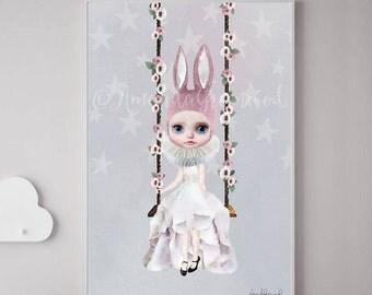 Nursery decor, woodland, woodlands, Baby animal,Woodland animals,girl nursery,kids room,Rabbit Print, Miss Lily, Amanda Greenwood,watercolor