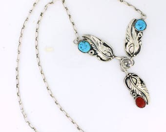 Signed Navajo Turquoise Coral Necklace Sterling Silver, Signed EGB - SS10190
