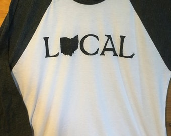 Local Ohio raglan tee