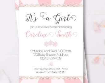 Baby Girl Baby Shower Invitation, It's a Girl Baby Shower, custom printable invite, baby bash, Pink Lace Baby Shower Invites