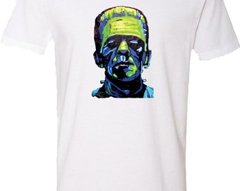 Men's Frankenstein Face V-Neck Shirt 20719NBT2-N3200